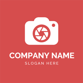Red and White Camera logo design
