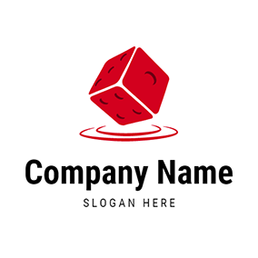 Red and White Dice Icon logo design