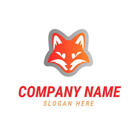 Red and White Fox Head logo design