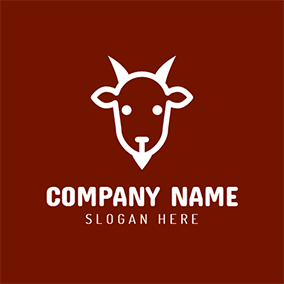 Red and White Goat Icon logo design
