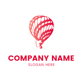 Red and White Hot Air Balloon logo design