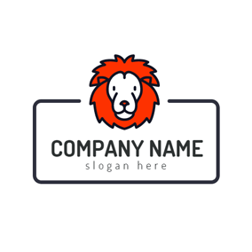 Red and White Lion Face logo design