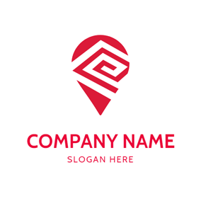 Red and White Map Pin logo design