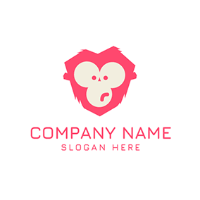 Red and White Monkey Face logo design