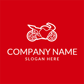 Red and White Motorcycle logo design