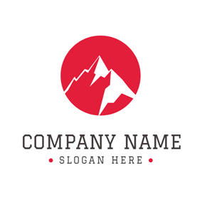 Red and White Mountain Peak logo design