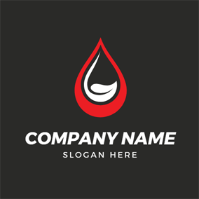 Red and White Oil Drop logo design
