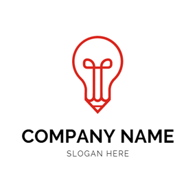 Red and White Pencil logo design