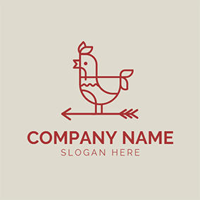 Red and White Rooster Chicken logo design