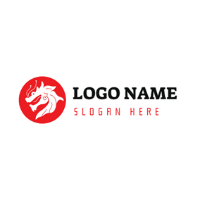 Red and White Round Dragon logo design