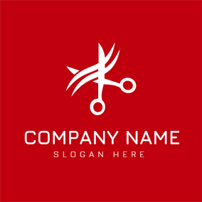 Red and White Scissor logo design