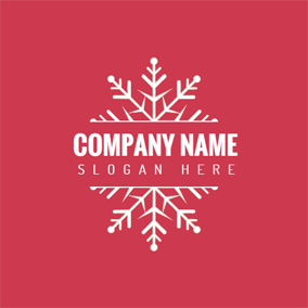 red and white snowflake logo design - Merry Christmas Logos
