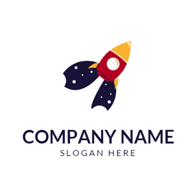 Red and Yellow Rocket logo design