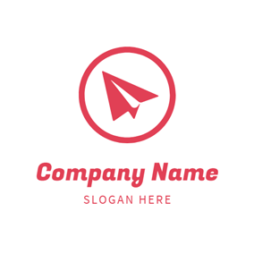 Red Annuli and Paper Plane logo design