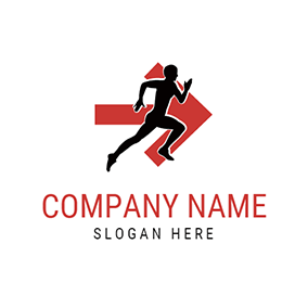 Red Arrow and Black Marathon Runner logo design
