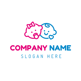 Red Baby Girl and Blue Baby Boy logo design