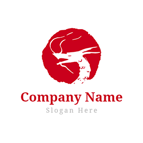 Red Background and Dragon Head logo design
