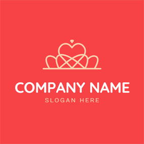 Red Background and Simple Line Crown logo design