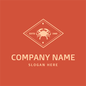Red Background Rhombus and Crab logo design