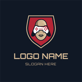 Red Badge and Game Controller logo design