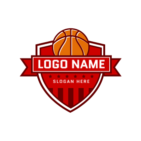 Red Badge Yellow Basketball logo design