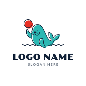 Red Ball and Cute Seal logo design