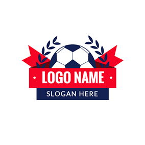 Red Banner and Blue Football logo design