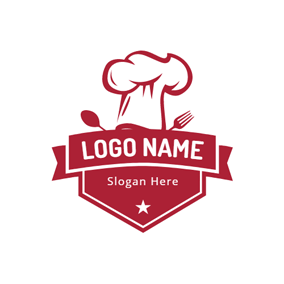 Red Banner and Chef Cap logo design