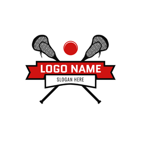 Red Banner and Cross Lacrosse Stick logo design