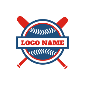 Red Bat and Blue Baseball logo design