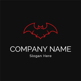 Red Bat Outline Icon logo design