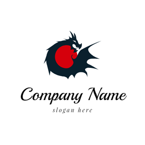 Red Bead and Black Dragon logo design