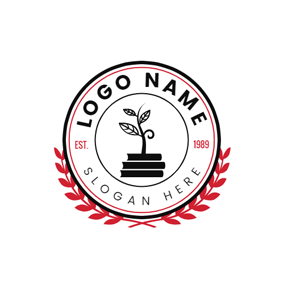Red Branch Encircled Sprout logo design