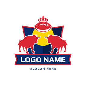 Red Bulls and Crowned Football Badge logo design