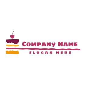 Red Cherry and Abstract Cake logo design