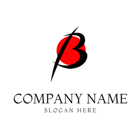 Red Circle and Black Beta logo design