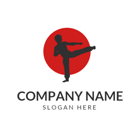 Red Circle and Black Karate Sportsman logo design