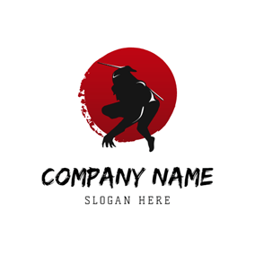 Red Circle and Black Ninja logo design