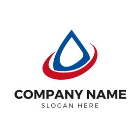 Red Circle and Blue Oil Drop logo design