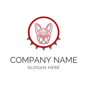 Red Circle and Bulldog Head Icon logo design