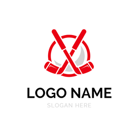 Red Circle and Cross Hockey logo design