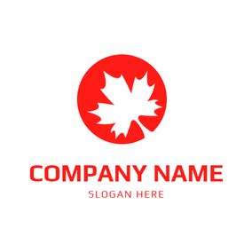 Red Circle and Maple Leaf logo design