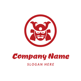 Red Circle and Samurai Head logo design