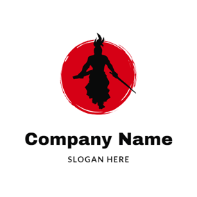 Red Circle and Strong Samurai logo design