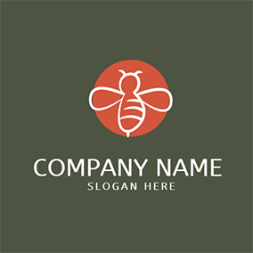 Red Circle and White Bee logo design