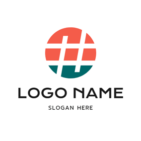 Red Circle and White Hashtag logo design