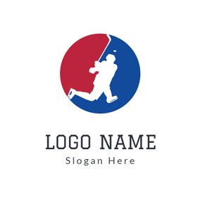 Red Circle and White Hockey Player logo design