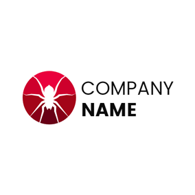 Red Circle and White Spider logo design