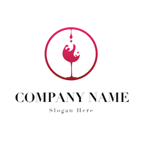Red Circle and Wine Glass logo design