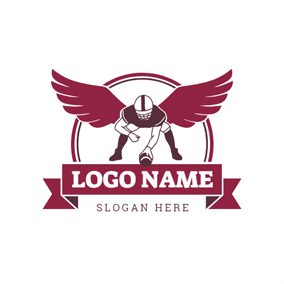 Red Circle and Winged Football Player logo design